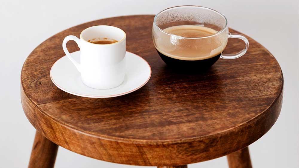 Coffee cups on stool