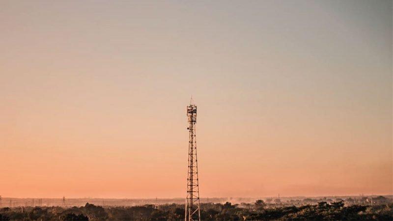 cellphone tower sunset