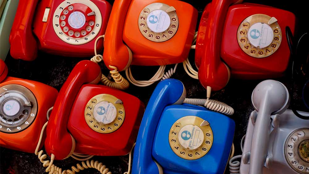multiple colorful home phones