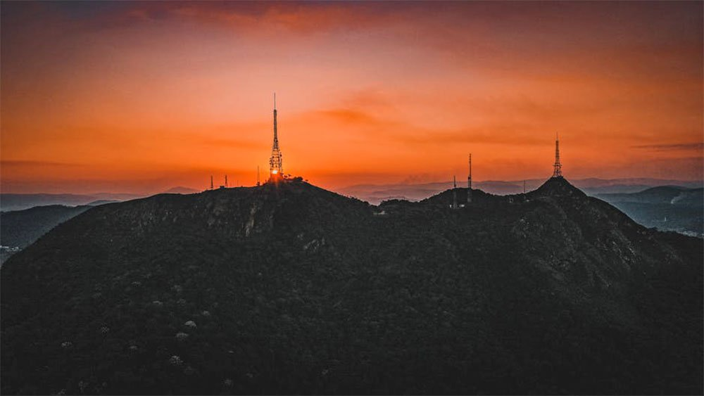 many cellphone towers sunset