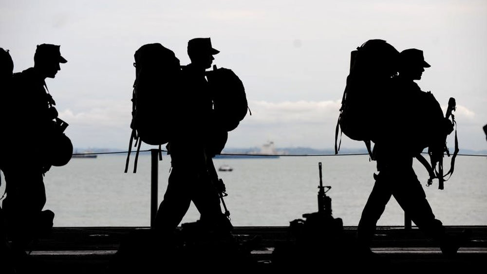 soldiers walking in a line